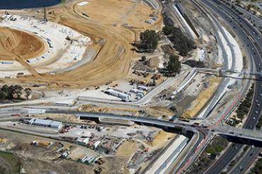 Extending the bridge for a rail station to service the new Perth Stadium